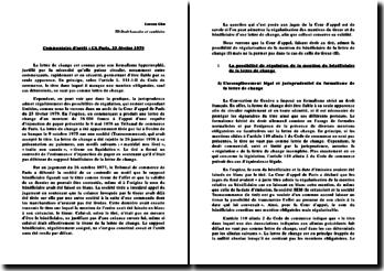 Commentaire d'arrêt de la Cour d'appel de Paris du 23 février 1979 : la lettre de change