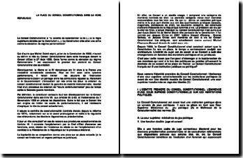 La place du Conseil Constitutionnel dans la Vème République