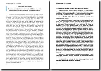 Commentaire de l'arrêt de la Première Chambre civile de la Cour de cassation daté du 7 juin 1995: la remise en cause de l'illicéité de la cession de clientèle