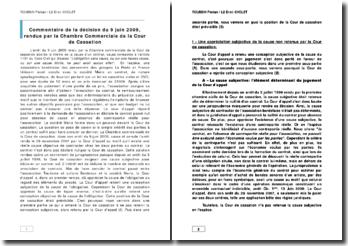 Commentaire de l'arrêt de la Chambre commerciale de la Cour de cassation du 9 juin 2009 : la cause d'un contrat