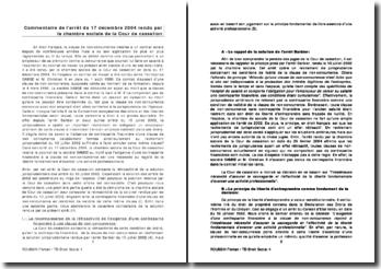 Commentaire de l'arrêt de la Chambre sociale de la Cour de cassation du 17 décembre 2004 : la clause de non-concurrence