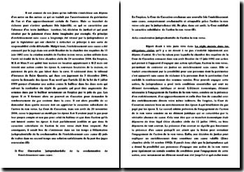 Commentaire de l'arrêt de la Première Chambre civile de la Cour de cassation du 29 novembre 2006: l'action in rem verso