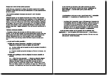 Analyse de la lettre LIX des Lettres persanes - Montesquieu