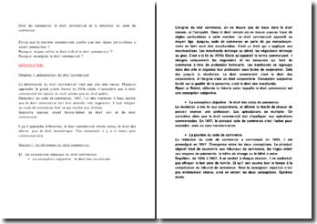 Droit du commerce: le droit commercial et la rédaction du code de commerce