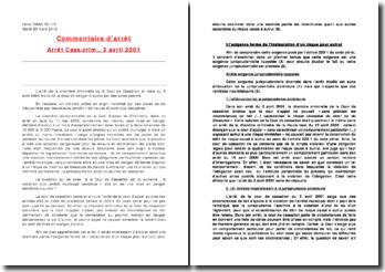 Commentaire d'arrêt, chambre criminelle de la Cour de Cassation, 3 avril 2001: mise en danger d'autrui par des actes positifs