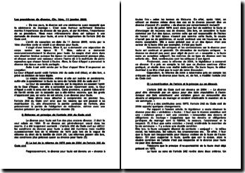 Les procédures de divorce, Civ. 1ère, 11 janvier 2005