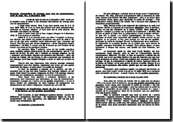 Demande d'annulation de mariage pour vice de consentement, arrêt de rejet, Civ., 2 décembre 1997
