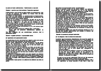Le cadre de l'action administrative : l'administration et son droit