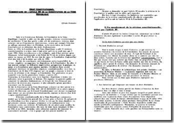 Commentaire de l'article 89 de la Constitution de la Vème République
