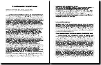 Commentaire d'arrêt, Cass.3e civ., 4 janvier 2006: la responsabilité des dirigeants sociaux