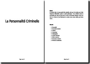 La personnalité criminelle