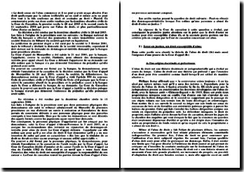 Commentaire d' arrêts, deuxième chambre civile de la Cour de Cassation, 28 mai 2003 et 11 septembre 2008: l'abus de droit