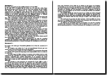 Commentaire d'arrêts, assemblée plénière, 9 mai 1984: reponsabilité civile