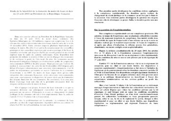 Etude de la faisabilité de la demande du maire de Laas en date du 23 août 2011 au Président de la République française