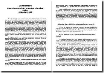 Commentaire d'arrêt, Cour de cassation, première chambre civile, 6 février 2008: mort d'enfants avant la naissance