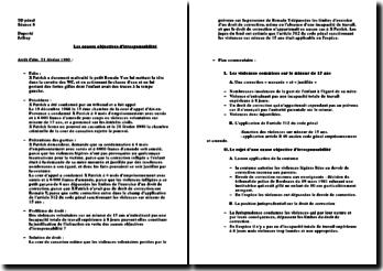 Commentaire d'arrêt, chambre criminelle, 21 février 1990: les causes objectives d'irresponsabilité