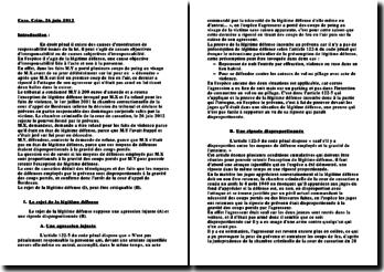 Commentaire d'arrêt, chambre criminelle, cour de cassation, 26 juin 2012 la légitime défense, une cause objective d'irresponsabilité