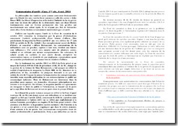 Commentaire d'arrêt, cour de Cassation, 1ère chambre civile, 6 octobre 2011: liberté d'expression et droit à l'intimité de la vie privée