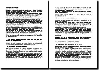 Les effets des traités internationaux dans l'ordre interne français, quatre arrêts rendus par le Conseil d'Etat et par la Cour de Cassation, entre 1989 et 2001