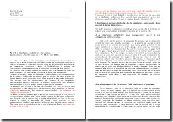 Commentaire de l'arrêt de la Première Chambre civile de la Cour de Cassation du 20 février 2001: la résolution unilatérale du contrat