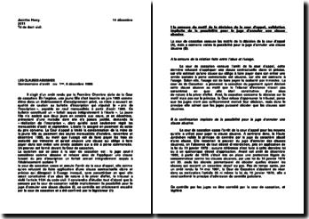 Commentaire de l'arrêt de la Première Chambre civile de la Cour de Cassation du 6 décembre 1989: les clauses abusives