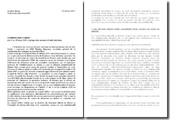 Commentaire d'arrêt, Conseil d'Etat, 28 mars 2011: les mesures d'ordre intérieur