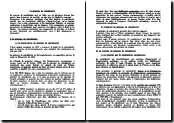 Le principe de subsidiarité en droit européen