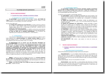 Psychologie générale expérimentale