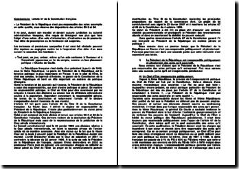 Commentaire : article 67 de la Constitution française