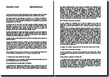 Commentaire de l'arrêt de la Première Chambre civile de la Cour de cassation du 28 janvier 2009 : le divorce pour faute