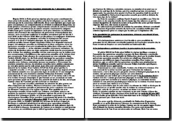 Commentaire d'arrêt Chambre criminelle du 7 décembre 2005: infractions de nature sexuelle
