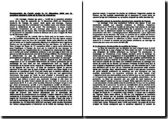 Demande d'annulation du mariage pour erreur sur les qualités substantielles de l'époux, commentaire d'arrêt du 13 décembre 2005, première chambre civile de la Cour de cassation