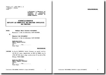 Dossier de plaidoirie: conclusions devant le tribunal de Grande Instance de Créteil