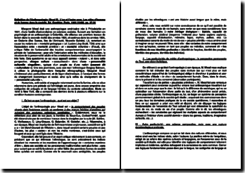 Définition de l'Anthropologie: Mead M., L'un et l'autre sexe, Les rôles d'homme et de femme dans la société, Ed. Gonthier, Paris, 1966 (1948), pp. 27-31