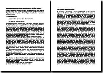 Les modalités d'organisation administrative de l'Etat unitaire