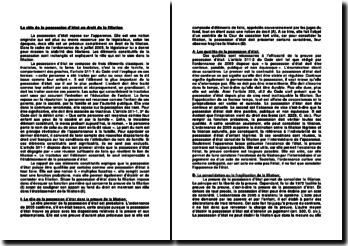 Le rôle de la possession d'état en droit de la filiation