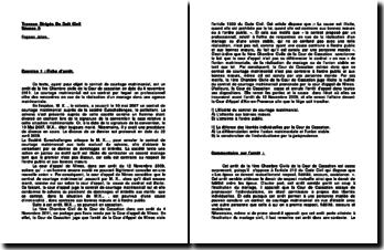 Etude de deux cas pratiques en droit civil sur les contrats: le contrat de mariage et l'invalidité d'un contrat