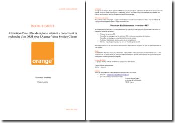 Rédaction d'une offre d'emploi « internet » concernant la recherche d'un DRH pour l'Agence Vente Service Clients de Orange