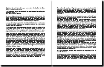 Application de la loi dans le temps: commentaire d'arrêt, Cour de Cass. Crim., 13 avril 2010 n 09-85135