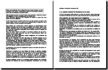 Notion de la caducité dans la disparition de la cause à travers un acte unilatéral à titre gratuit, commentaire d'arrêt de la première chambre civile, Cour de cassation, 30 octobre 2008