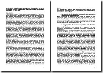 Lutte contre le blanchiment des capitaux, commentaire de l'arrêt CE, Conseil national des Barreaux et autres - Conseil des barreaux européens, 10 avril 2008