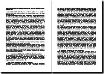 Les critères matériels d'identification des contrats administratifs, aujourd'hui
