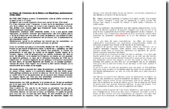 La France de l'invention de la Nation à la République parlementaire (1789-1958)