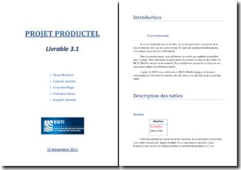 Livrable 3.1 pour le projet Productel