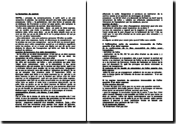 La formation du contrat, commentaire d'arrêt de la 3ème Civ. de la cour de cassation du 7 mai 2008, la