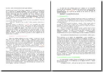 Le droit: notion fondamentale et principes de base