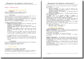 Management des systèmes d'information - notions de base, micro-ordinateurs et réseaux