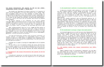 Les causes d'exonération des parents du fait de leur enfant, commentaire d'arrêt, Civ 2ème, 17 février 2011