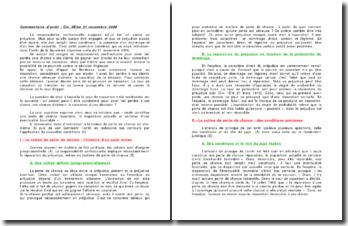 La responsabilité contractuelle, commentaire d'arrêt, Civ. 2ème, 21 novembre 2006