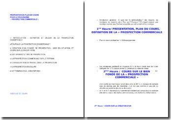 Proposition de plan de cours pour le programme prospection commerciale